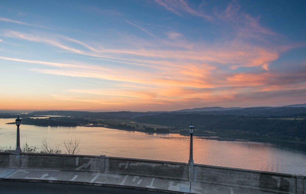 Sunset view of the Columbia River from the View House