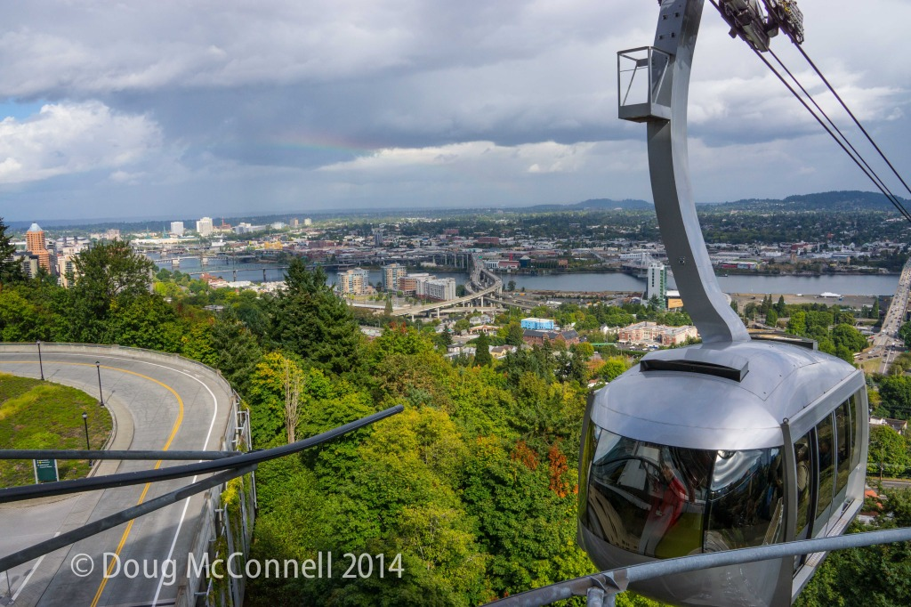 Aerial tram to OU Medical Center with view of Portland
