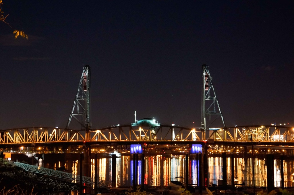 Portland bridges and harbor at night