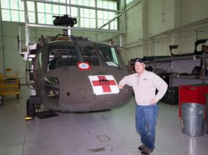 A Blackhawk Medivac Helicopter in Bob Johnson's hanger at Fort Campbell