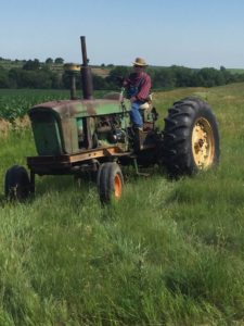 91 year old Bob Shanahan on his tractor